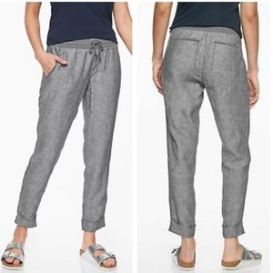 Athleta Bali Ankle Linen Pant in Gray Size 6